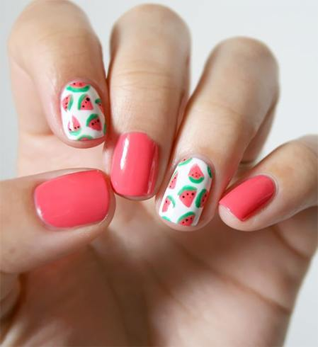Watermelon Accented Nail Designs